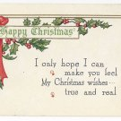 Christmas Poem Postcard Embossed Holly Vintage ca 1913