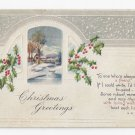 Christmas Poem Postcard Country Scene Embossed Stecher Vintage ca 1915