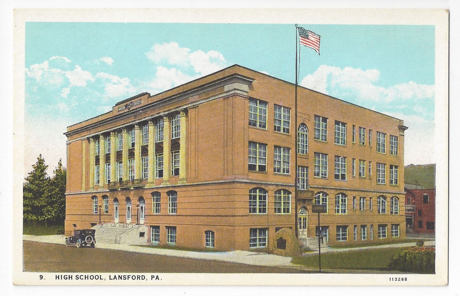 Lansford PA High School Vintage Curteich Postcard