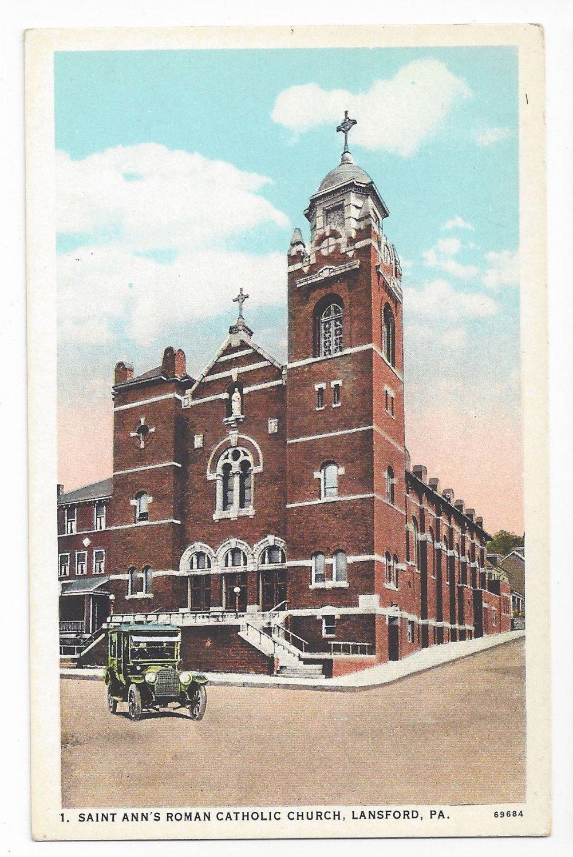 Lansford PA Saint Anns Roman Catholic Church Vintage Curteich Postcard