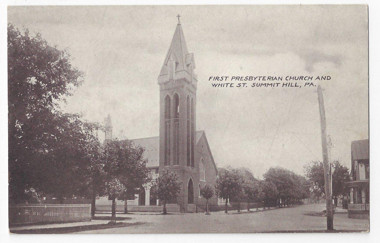 Summit Hill PA First Presbyterian Church Vintage Millar Postcard