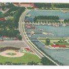 FL St Petersburg Al lang Field Baseball Aerial View Vintage Linen Postcard