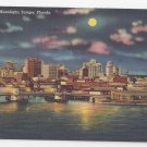 FL Tampa Skyline by Moonlight Florida Vintage 1959 Linen Postcard