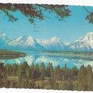 WY Teton Range over Jackson Lake Vintage 1968 Wyoming Postcard