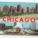 IL Chicago Gold Coast Skyline Buckingham Fountain Dual View Vintage Postcard