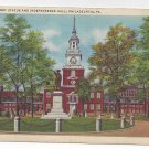 PA Philadelphia Barry Statue Independence Hall Vintage Linen Postcard