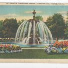 PA Philadelphia Fountain Strawberry Mansion Fairmount Park Linen Postcard