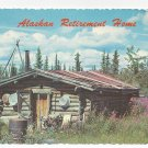 Alaska Log Cabin Retirement Home Vintage 1973 Inverted year slug Postcard