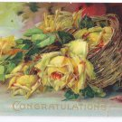 Vintage Congratulations Postcard Embossed Gilded Yellow Roses 1910