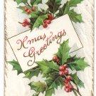 Vintage Christmas Postcard Embossed Holly Xmas Greetings