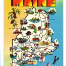 Greetings Maine State Map Cities Attractions Industry Vtg Postcard