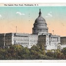 Washington DC The Capitol West Front Vtg B S Reynolds Postcard 1924