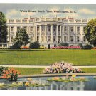 Washington DC White House South Front Lily Pond Vtg Linen Postcard05