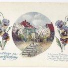 Birthday Greetings Cottage Pansies Poem Postcard