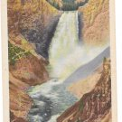 WY Yellowstone Park Lower Falls Red Rock View Vtg Haynes Linen Postcard 16256