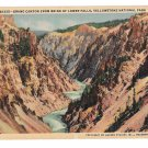 WY Yellowstone Park Grand Canyon from brink of Lower Falls Vtg Haynes Postcard