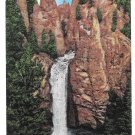 WY Yellowstone Park Tower Falls Vtg E C Kropp Linen Postcard Wyoming