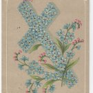 Easter Postcard Forget Me Not Cross Vintage Embossed 1909