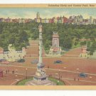 NY New York City Columbus Circle Central Park Vtg Linen Postcard