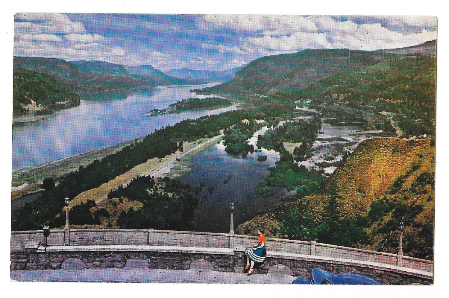 OR Columbia River Gorge Crown Point View Oregon Vintage ...