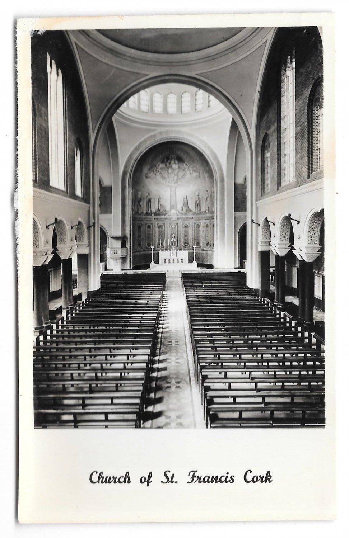 RPPC Ireland Cork Church of St Francis Interior Vintage Real Photo Postcard