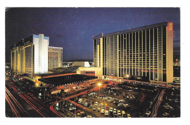 Las Vegas NV MGM Grand Hotel Night View Vintage Postcard