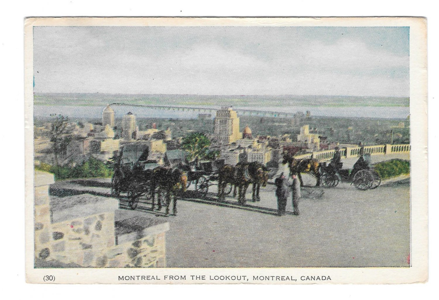 Canada Montreal from Lookout Horse Carriage Vtg 1955 Postcard