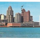 MI Detroit River Skyline Vtg Postcard Michigan
