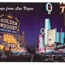 Las Vegas Fremont St Night Golden Nugget Casino Vtg Postcard
