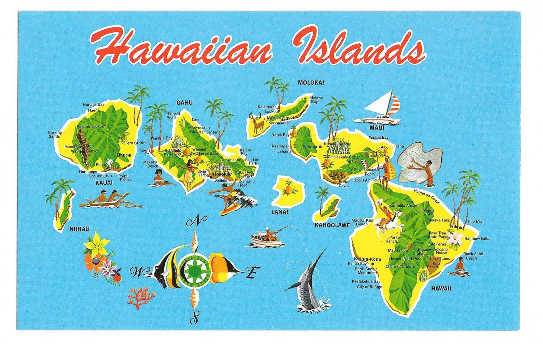 Hawaiian Islands Vintage Map