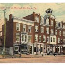 York PA City Hotel 335-337 W. Market Street 1913 Postcard Flag Cancel
