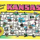 Greetings from Kansas State Highways Cities Vtg Map Postcard