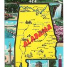 Alabama Map Cities Multiview of Landmarks Vtg Postcard