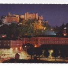 Austria Salzburg Fortress at Night Festival City Vintage Postcard 4X6