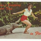 FL Alligator w Woman Having a Snapping Good Time Vtg 1970 Humor Postcard