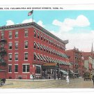 York PA Hotel Penn w Fire Escapes Philadelphia and George Sts Vtg Postcard