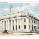 York PA Post Office Cars Vintage Tichnor White Border Postcard