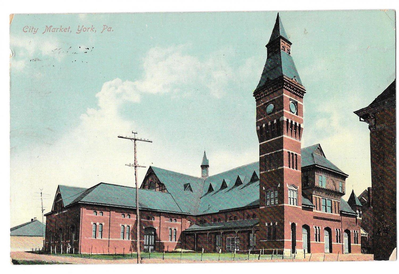 York PA City Market Vintage 1910 Postcard