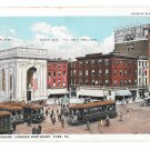 York PA Center Square Looking Northeast Trolley Cars Buildings Vntg Postcard