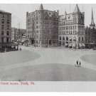 York PA Center Square Vintage Blue Tinted Postcard