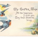 Vintage Easter Postcard Robins Blue Birds Bergman Arts & Crafts A/S M Dulk