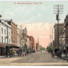 York PA E Market St Horse Carts Smith's Druggists Lehmayer Bro Vintage Postcard
