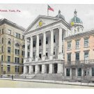 York PA County Court House Baughman House Hotel Market Street Vintage Postcard