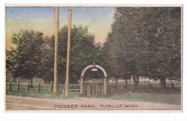 Ezra Meeker Postcard Pioneer Park Puyallup WA Vintage Oregon Trail Territory B&W