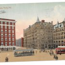 York PA Center Square Two Trolleys Vntg Valentine and Sons Postcard