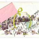 Bloomsburg PA Note Envelope Add-On Embossed Flowers Glitter Vintage Novelty Postcard