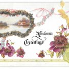 Affectionate Greetings Coralene Glass Beads Ribbon Add-On Vintage Postcard