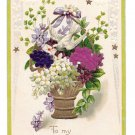 To My Sweetheart Silk Flower Add-On Gold Stars Vintage Embossed Postcard