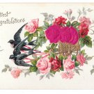 Heartiest Congratulations Birds Silk Red Roses Vintage Embossed Postcard