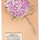 1908 Calendar Add-On Glitter Bouquet Vintage Novelty Postcard Rose Co.